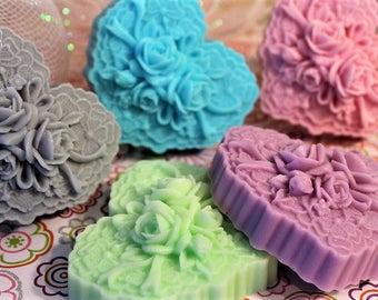 Heart Soap Bar, Novelty Soap, Handmade Soap, Lace Soap Bar, Valentine's Day Soap, Heart & Rose Soap Favor,  Bridal Shower Soap, Gift Soap