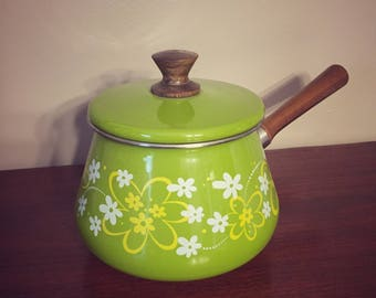 Vintage Green Yellow and White Flowers Imperial Fondue Pot, Made in Japan