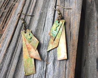 Bronze Rectangle Arrow Patina Earrings