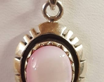 Sterling silver pink stone charm / pendent