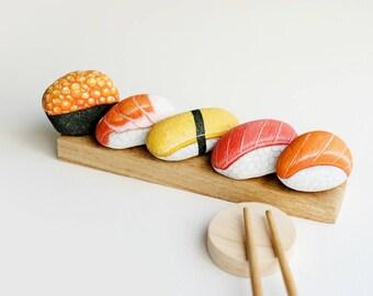 Sushi Japanese Food, Stone painting, Rock art, Acrylic Colour.