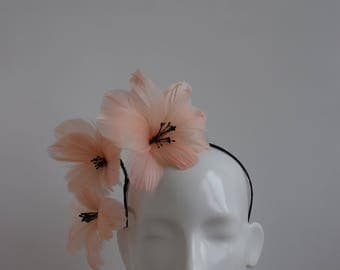 Peach Feather Flower Fascinator - Large Feather Fascinator - Peach Pink Crown Tiara Hat - Racing Style Headpiece - Contemporary Headpiece