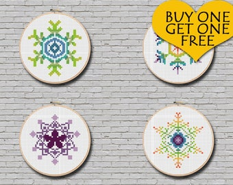 Cross Stitch Pattern Snowflake Set #3 Modern Ornament Minimal Decor 4 Snowflakes Pattern Christmas Gift Idea PDF Pattern