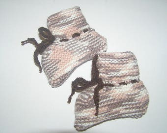 Baby booties 3 months Heather color hand-knitted
