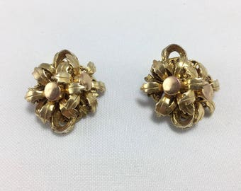 Stanley Habler gold tone vintage clip on Earrings