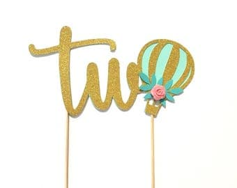 1 pc two hot air balloon flower rose floral Gold Glitter Cake Topper Toddler boy girl second Birthday