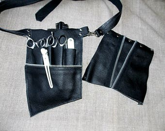 FREE SHIPPING/Hairdressing leather pouches\hairstylist tool belt\scissor case\barber pouch\hair cutting tool belt\barber leather apron