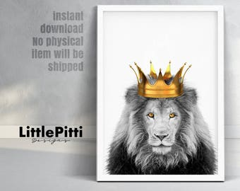 Lion king art, lion crown, lion print, lion king with crown, crowned lion, lion wall decor, gold crown, digital wall art, gold wall decor