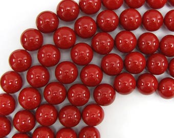 "16mm red shell pearl round beads 16"" strand 13500"