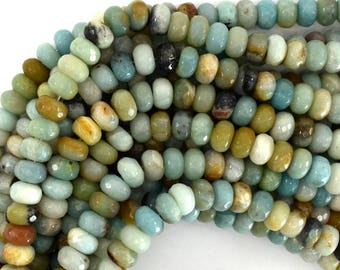 """10mm faceted amazonite rondelle beads 15.5"""" strand 39182"""
