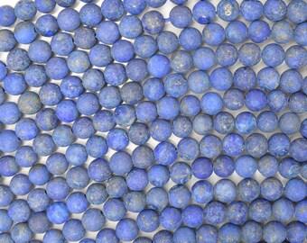 "4mm matte blue lapis lazuli round beads 15"" strand 38331"