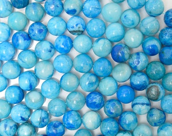 """8mm blue crazy lace agate round beads 16"""" strand 38159"""