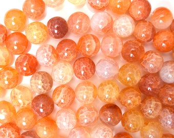 "10mm orange crab fire agate round beads 15"" strand 38311"