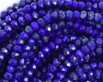 "3mm natural faceted blue lapis lazuli rondelle beads 15.5"" strand S2 36584"