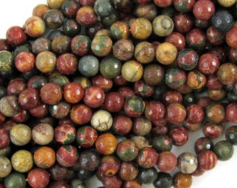 """6mm faceted picasso jasper round beads 15"""" strand 38018"""