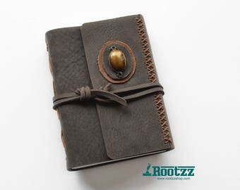 Leather journal with a Tigereye  gemstone- blanc paper