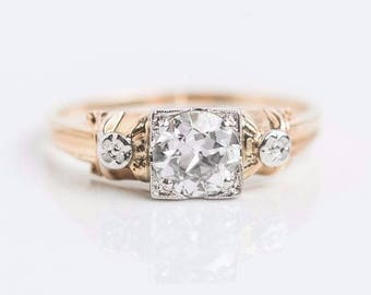 14/18k Yellow Gold Antique Ring | Old European Cut .50 tcw diamond | Handcrafted around 1920s | A Pretty Unique Sparkly Engagement Ring