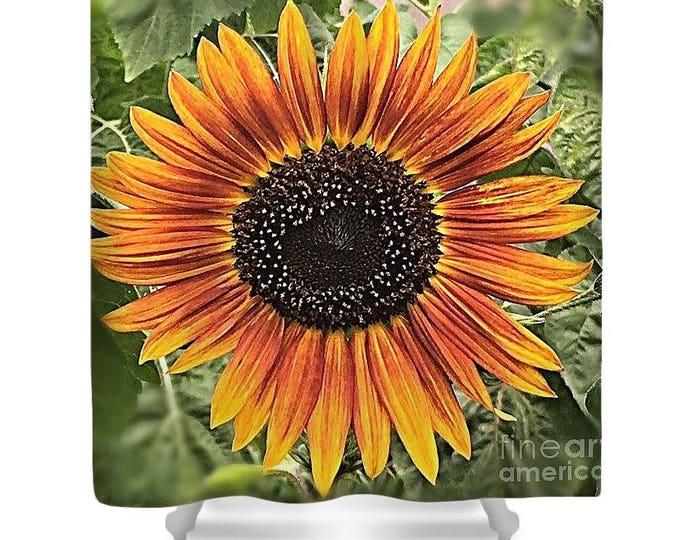 """Shower Curtain """"Orange Sunflower"""""""
