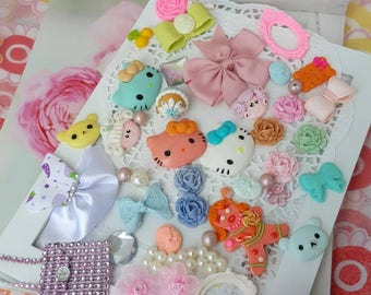Kawaii Decoden, Jewelry, Vintage, Hello kitty, Bows, Hairpins, Necklace, Candy