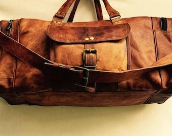 Leather Duffel Bag, Leather Travel Bag, Leather Bag, Gym Bag, Overnight Bag, Leather Luggage, Compact weekend bag