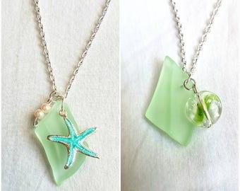 Mint green/soft green glass pendant necklace