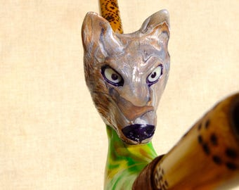 RESERVED for Aneta - Sculpted Wolf Spirit Tepi pipe for Amazonian Rapé snuff, with large quartz crystal and pyrographic ornaments