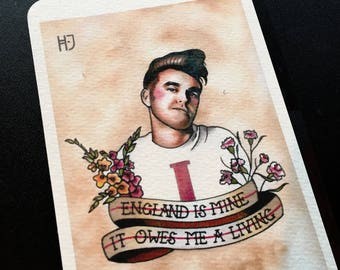 "Post card Tattoo Flash fine art print ""England is mine"" Morrissey The Smiths"