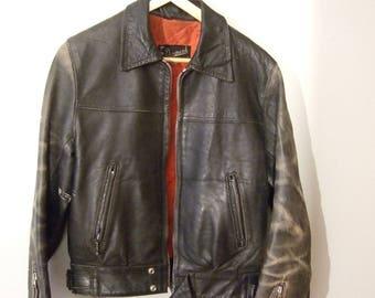 vintage motorcycle leather jaket SIZE 38 biker cafe racer