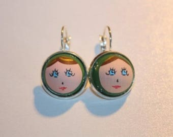 "Earrings ""Laurette"" green nesting doll"