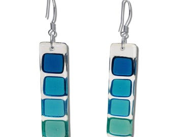 Fused Glass Squares Earrings in Blue, Turquoise and Navy. Mod, Colorful, Fun Earrings, Geometric, long earrings. Summer Earrings