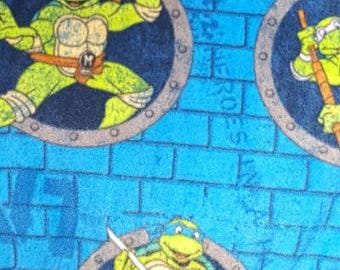 READY TO SHIP Blue Ninja Turtle Knotted Fleece Throw With Antipill Backing