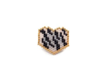 Heart brooch beads Miyuki