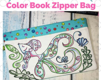 In the Hoop Coloring book Zipper Bag - Fish - Digital Machine Embroidery design - In the Hoop project