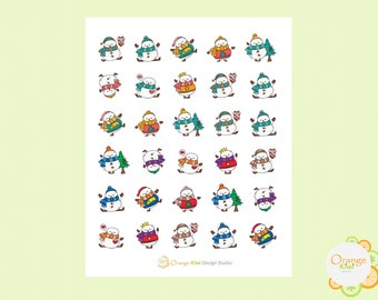 Snowman Stickers, Dancing Snowman Stickers, Planner Stickers, Christmas Stickers