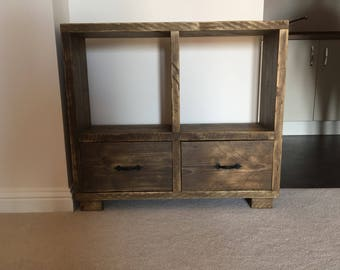 Solid wood handmade shelf drawer unit from recycled wood.