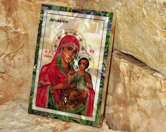 Christian icon Virgin Mary Of Bethlehem and Baby Jesus , Wall Decor Icon , Mother of pearl Icon, Handmade in Holy Land