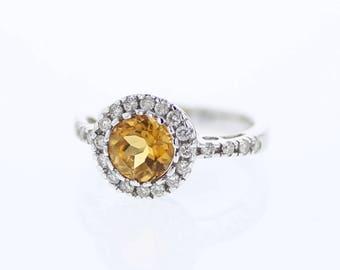 Golden Yellow Citrine Ring