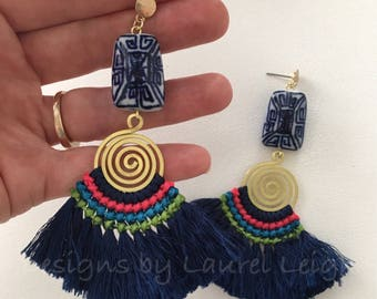 NAVY Fringe Earrings | pink, green, gold, blue and white, chinoiserie, boho, multicolored, statement earrings, post earrings, Laurel Leigh