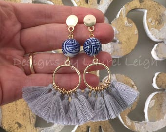 GRAY Chinoiserie Tassel Earrings | post earrings, gold, blue and white, statement earrings, grey