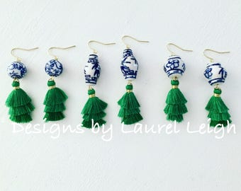 EMERALD GREEN Mini Stacked Tassel Earrings | blue and white, short, gold, lightweight, dainty, tiered, layered, Chinoiserie, ginger jar