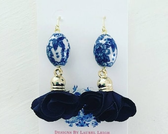 Blue and White Earrings | NAVY BLUE, dainty, lightweight, statement earrings, chiffon, tulle, chinoiserie, dangle, vintage