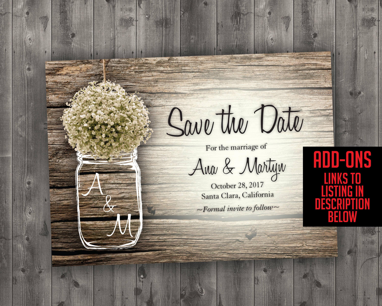 mason jar babyu0027s breath flowers rustic wedding invitation set printed cheap wedding invitations unique custom invitations affordable