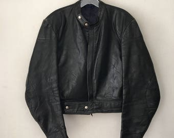 Rocker Style Heavy Short Vintage Black Genuine Leather Jacket Men's Size Small.