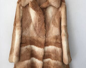 Modern Mid Length Vintage Orange Genuine Rabbit Fur Coat Women's Size Medium.