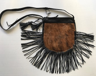 Beautiful bag from real cow fur & leather with fashionable leather fringe new collection designer bag handmade women's black bag size-small.