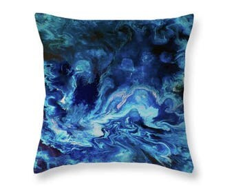 Blue Pillow | Throw Pillow Cover | Abstract Art Pillow | Navy and Baby Blue Toss Pillow | Decorative pillow Abstract | Custom Sizes | Gift