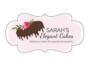 Elegant Cake logo - premade cake logo - chocolate cake logo - Bakery logo - Wedding cake logo - wedding cake - dripping cake logo