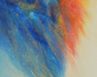 """Original hand painted modern abstract painting """"Messages"""" - acrylic paint with textures - Katerina Machytkova"""