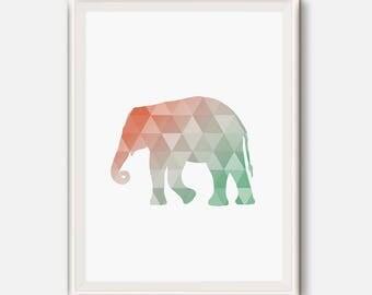Coral and mint print, Nursery Art, Elephant printable, Elephant nursery print, mint and coral animals, Coral wall art, Mint printable art