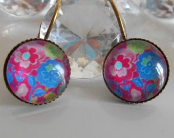 """Vintage floral"" Stud Earrings cabochon glass"